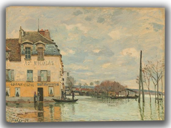 Sisley, Alfred: Flood at Port-Marly. Fine Art Canvas. Sizes: A4/A3/A2/A1 (003961)